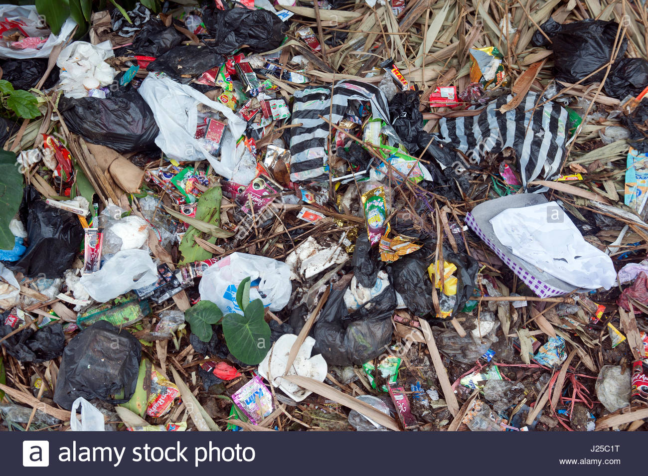 Cianjar Indonesia Litter on the side of the road in a Cianjar suburb. Single use plastics improperly disposed of - Stock Image