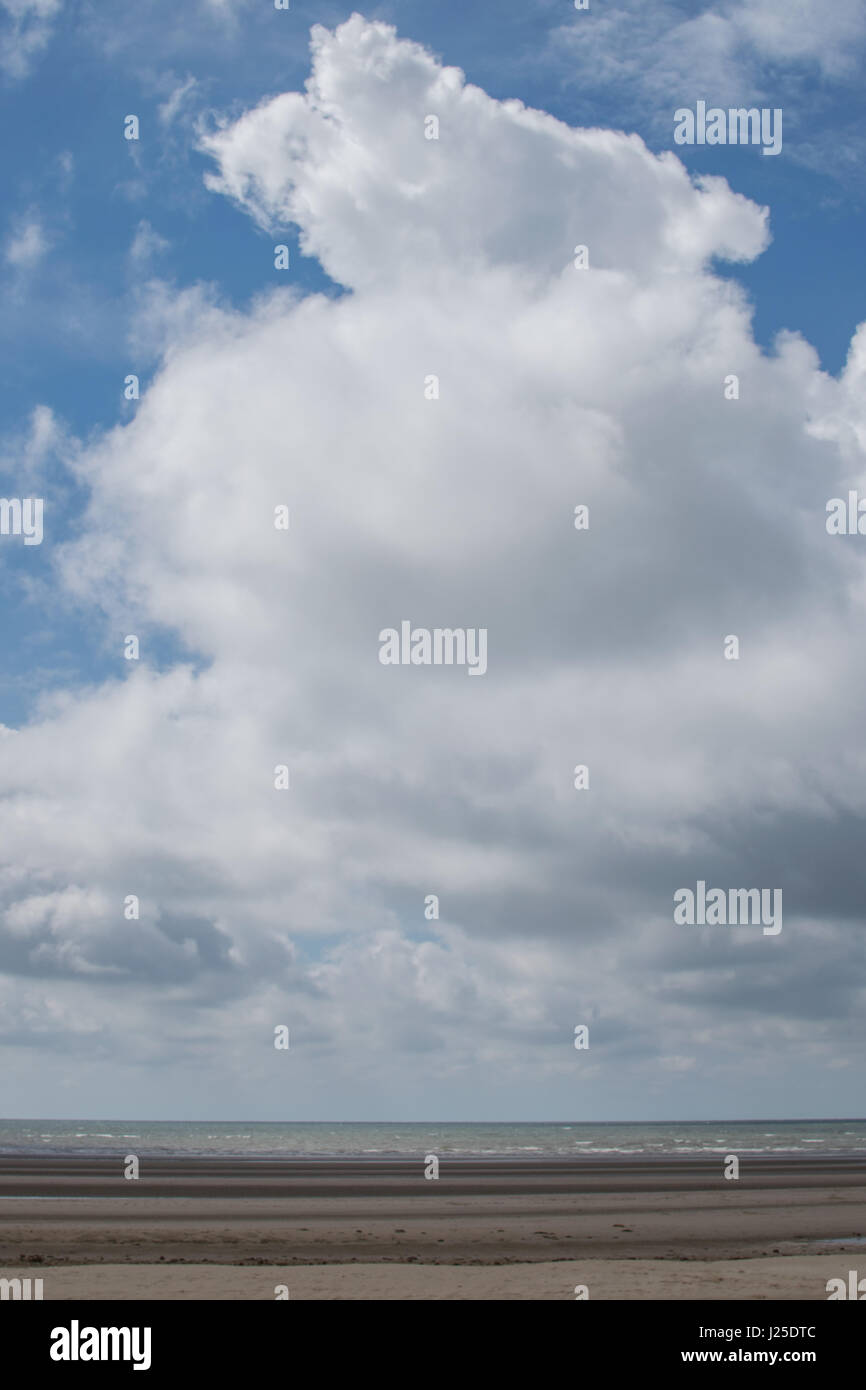 Blue Sky Of White Fluffy Clouds - Stock Image