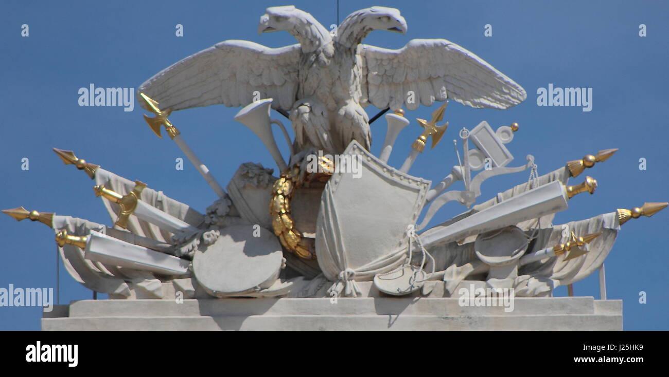 Detail of the Habsburg coat-of-arms from Schönbrunn Palace (Schloss Schönbrunn) - Stock Image