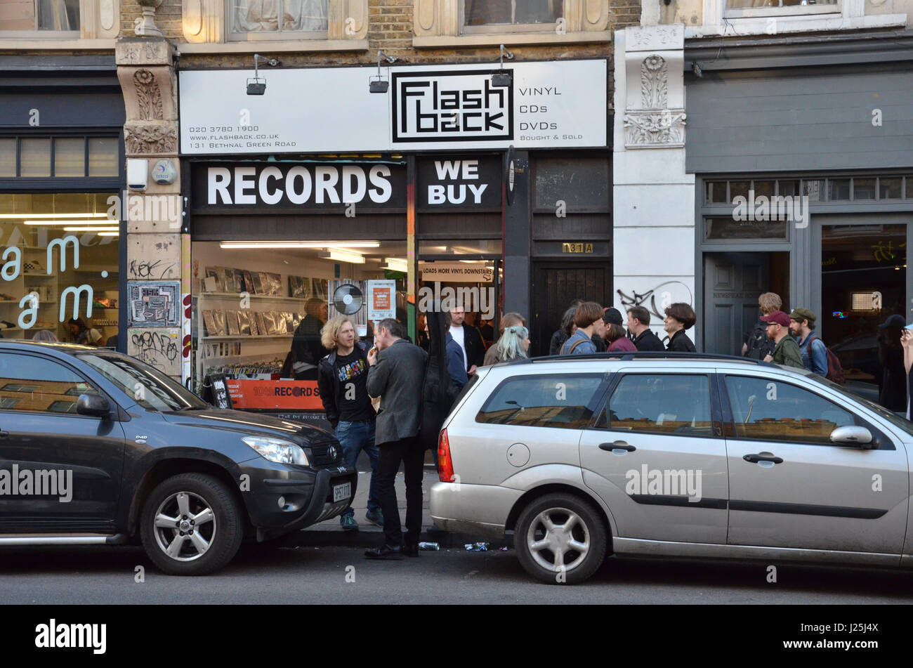 People outside Flashback Records on Record Store Day 2017
