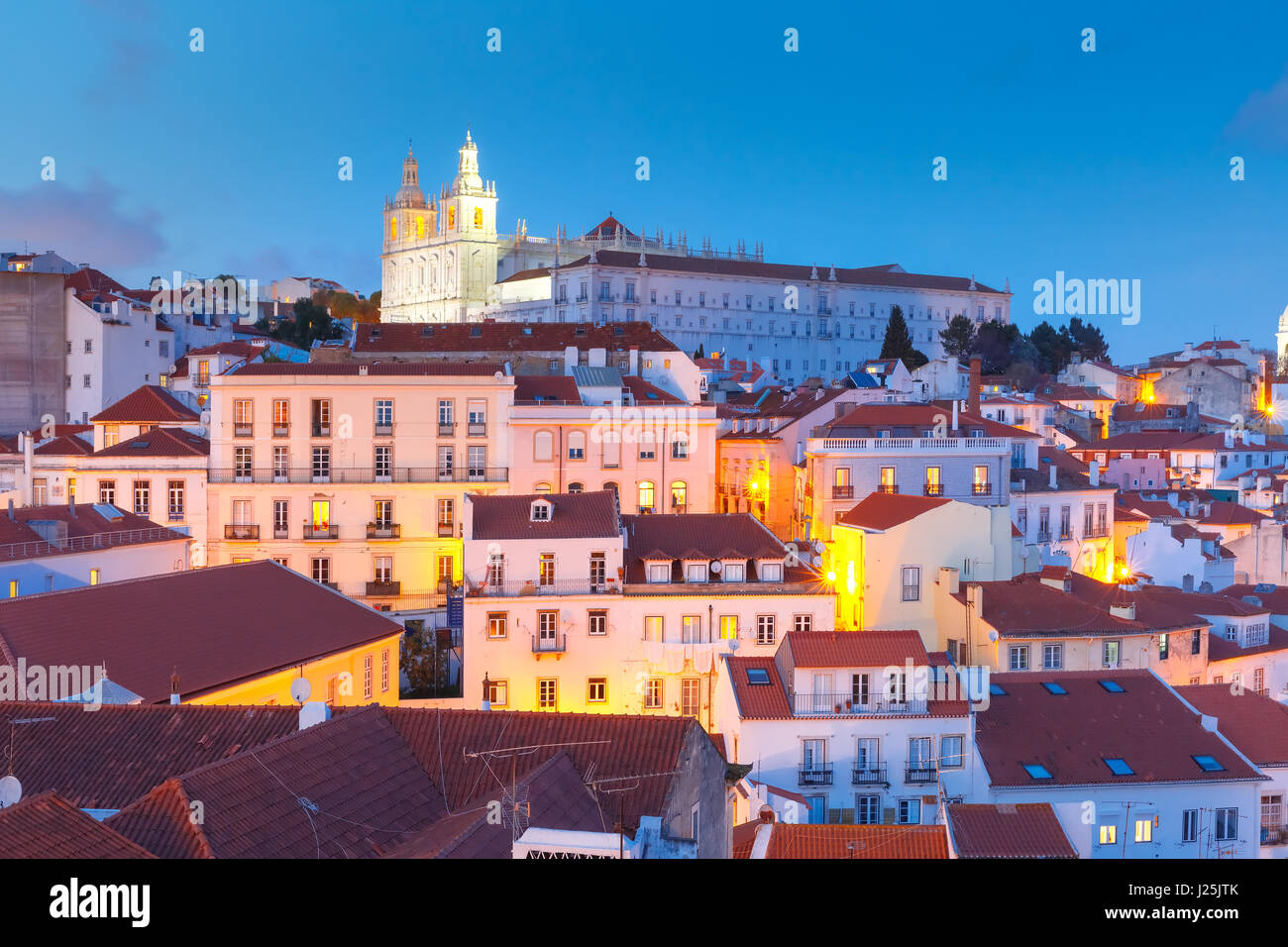 Alfama at night, Lisbon, Portugal Stock Photo