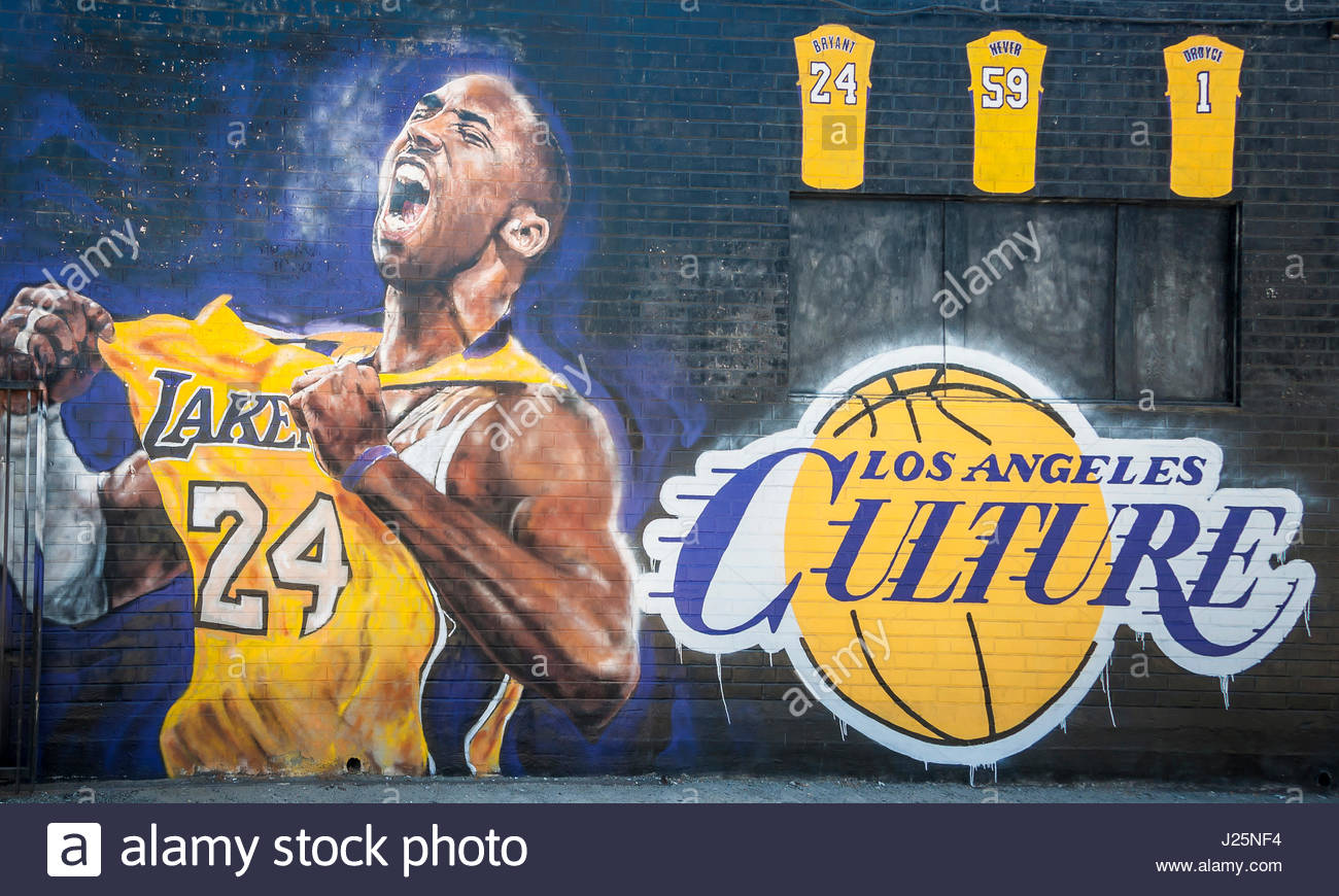 3 September 2016, Los Angeles, USA. Awesome graffiti of Kobe Bryant just round the convention centre in Los Angeles. - Stock Image