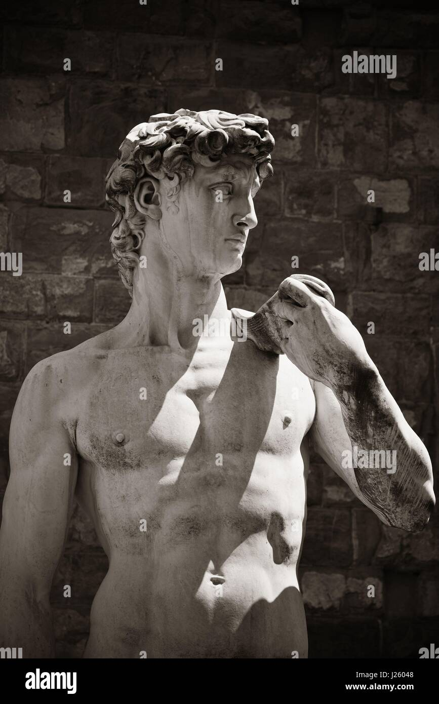 Duplicate of David by Michelangelo in Palazzo Vecchio in Florence Italy. - Stock Image