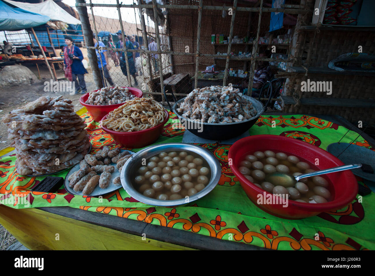 A traditional sweetmeat shop during the Rash Mela at Dublarchar in the Eastern Division of Sundarbans forest. Bagerhat, - Stock Image
