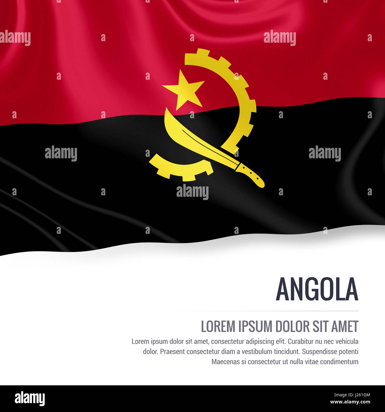 Angola flag. Silky flag of Angola waving on an isolated white background with the white text area for your advert - Stock Image