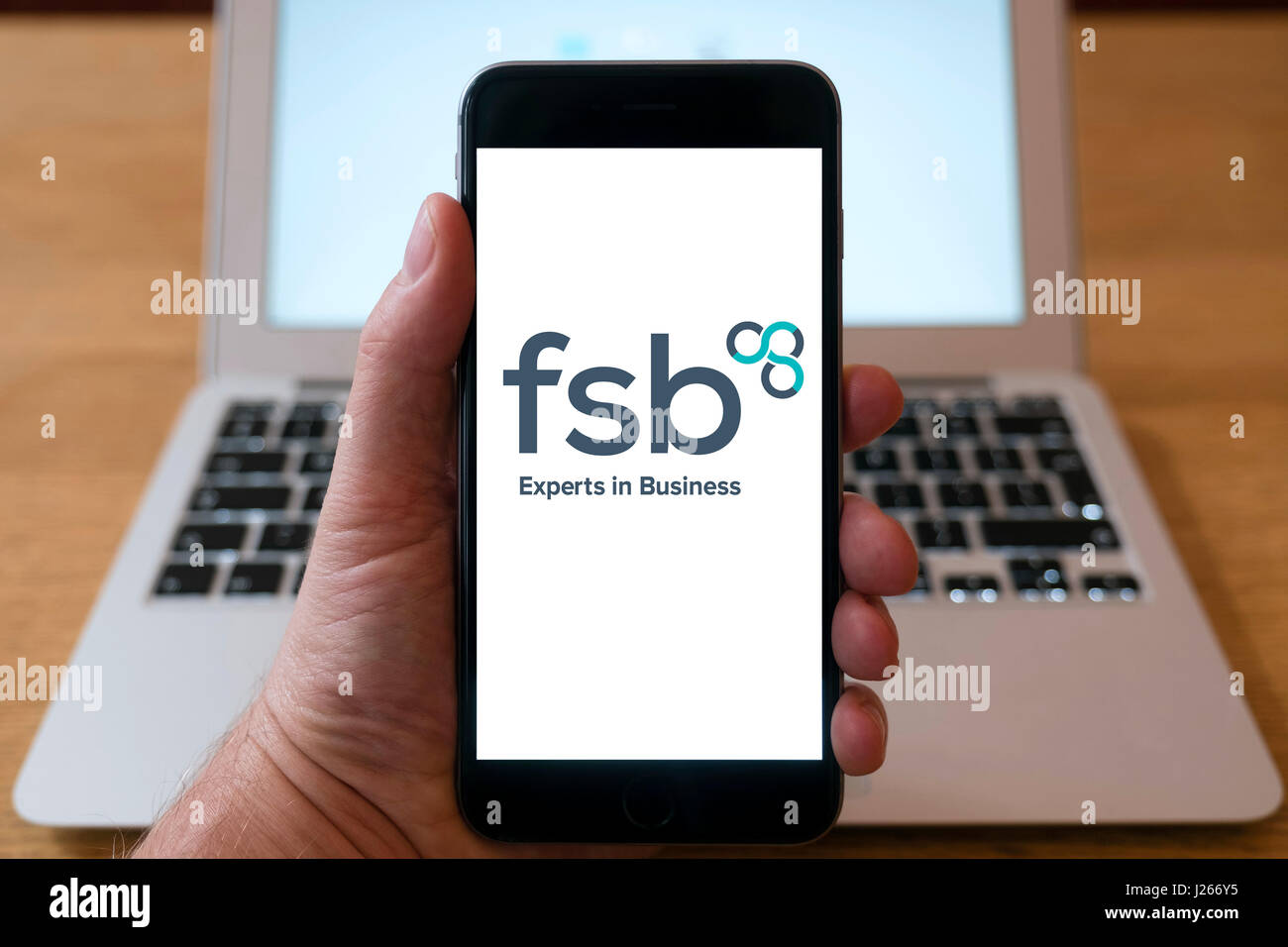 Logo of FSB, Federation of Small Businesses on smart phone screen - Stock Image