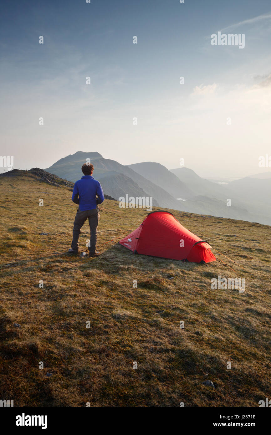 Wild Camping on Mynydd Moel, part of the Cadair Idris massif. Snowdonia National Park. Wales. UK. - Stock Image