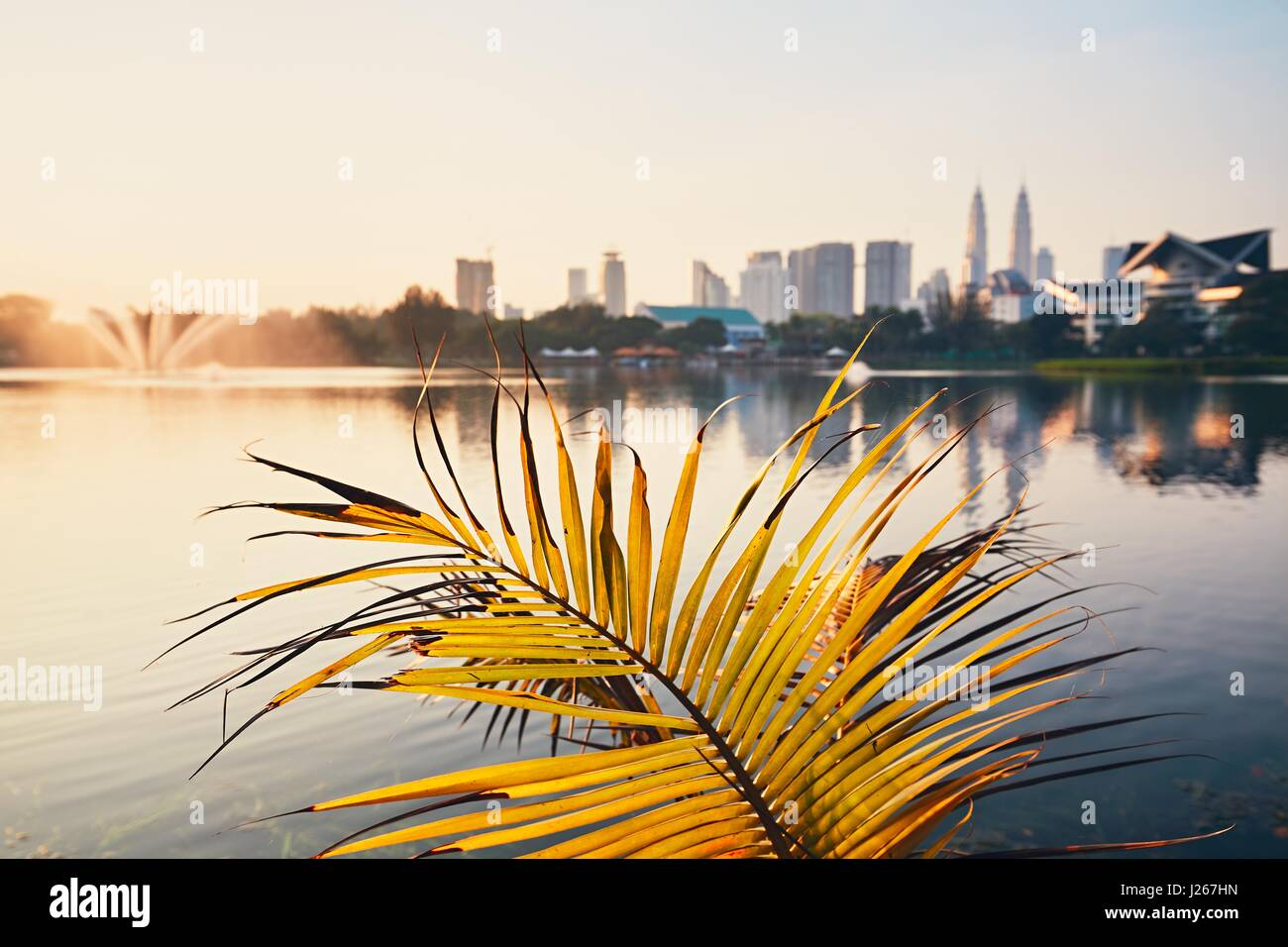 Beautiful morning in public park in Kuala Lumpur. Skyline of the modern city at sunrise. Selective focus on the Stock Photo