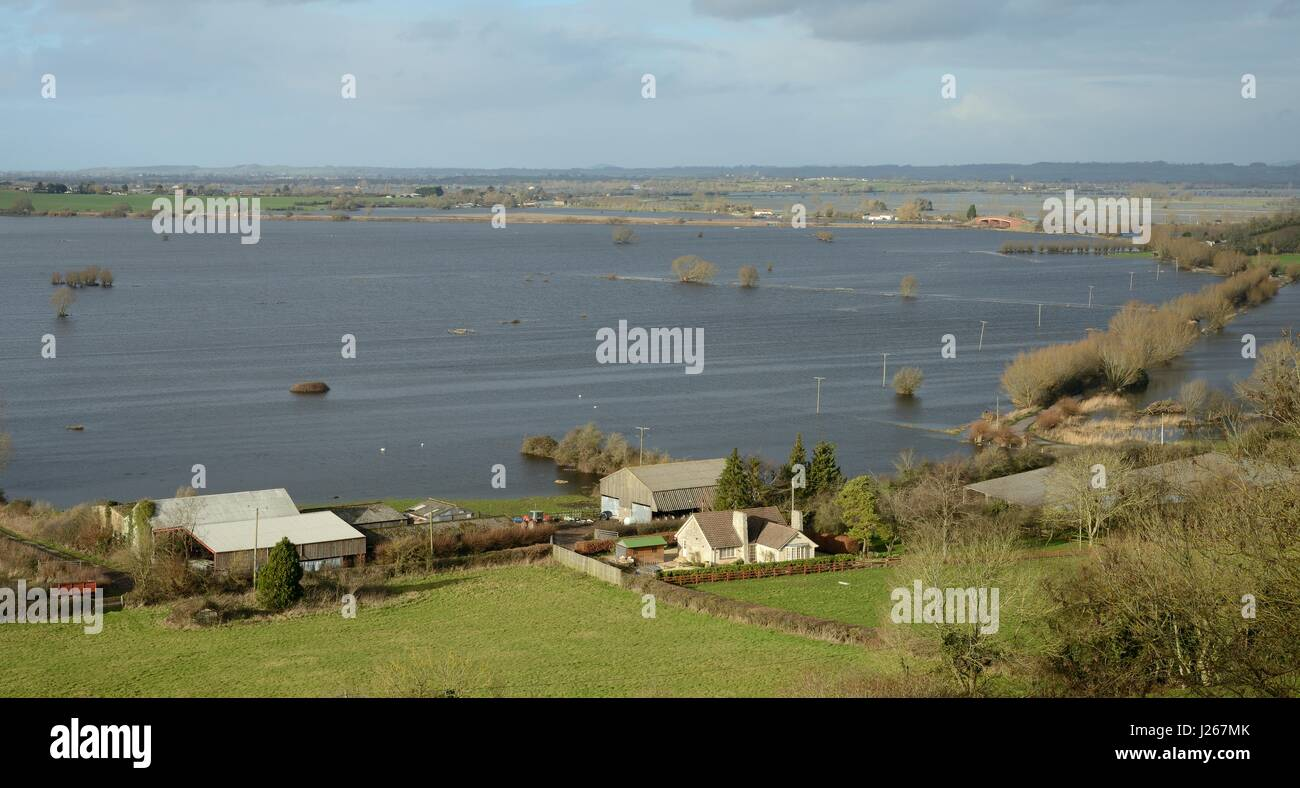 Overview of extensively flooded pastureland and roads on West Sedgemoor and Aller Moor, after weeks of heavy rain, - Stock Image
