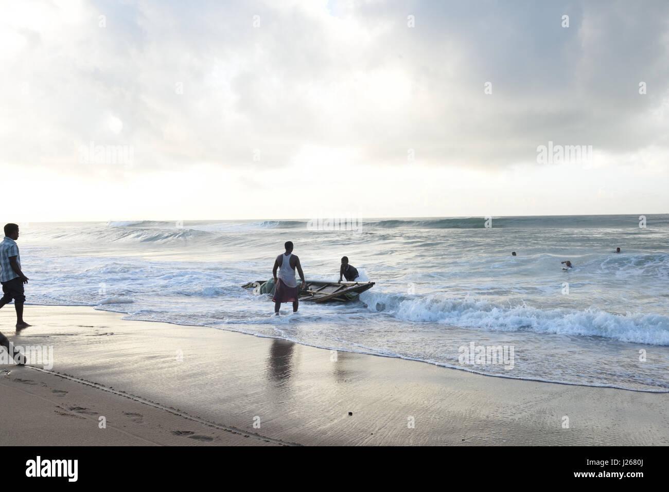 Fishermen on the boat, Puri, Orissa, India, Stock Photo