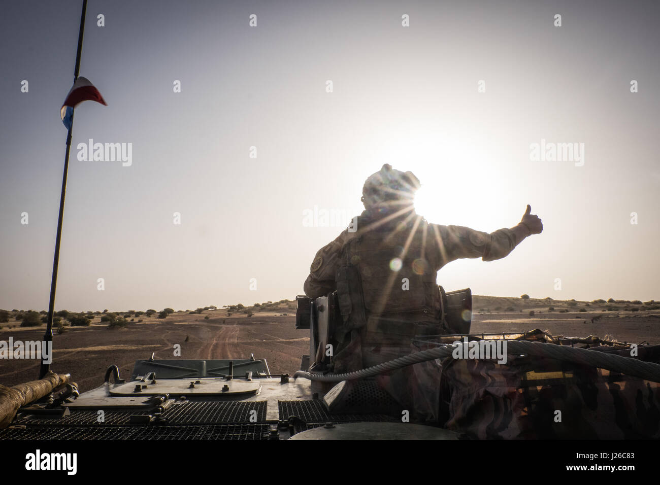 Daily life of french soldiers of barkhane military operation in Mali (Africa) launch in 2013 against terrorism in Stock Photo