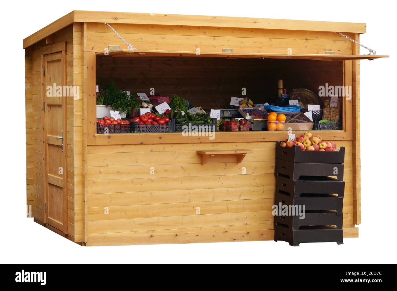 In a wooden no name street booth sell fruit and vegetables. Isolated - Stock Image