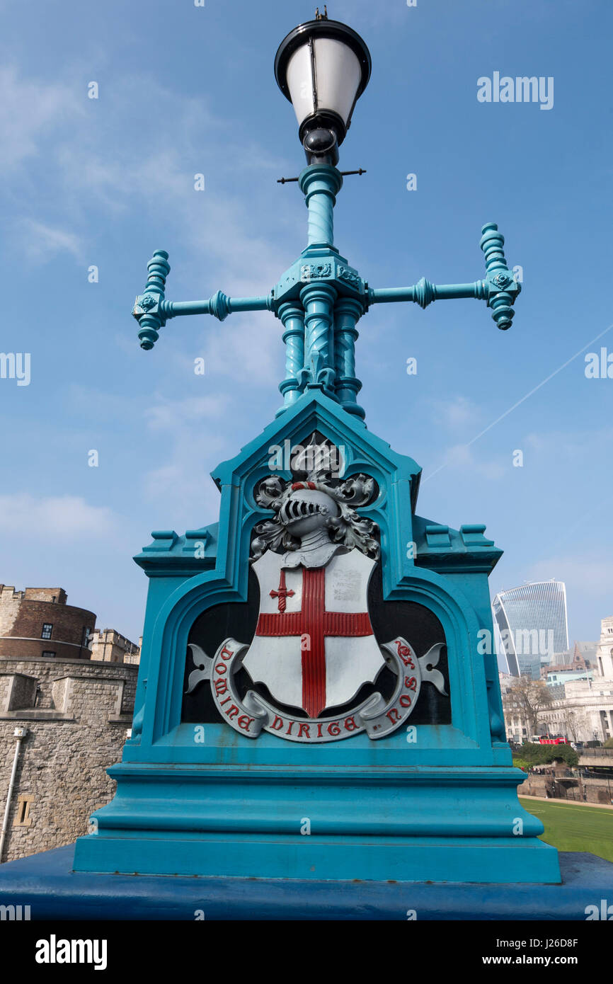 City of London street lamp with The Latin motto of the City 'Domine dirige nos', which translates as 'Lord, - Stock Image