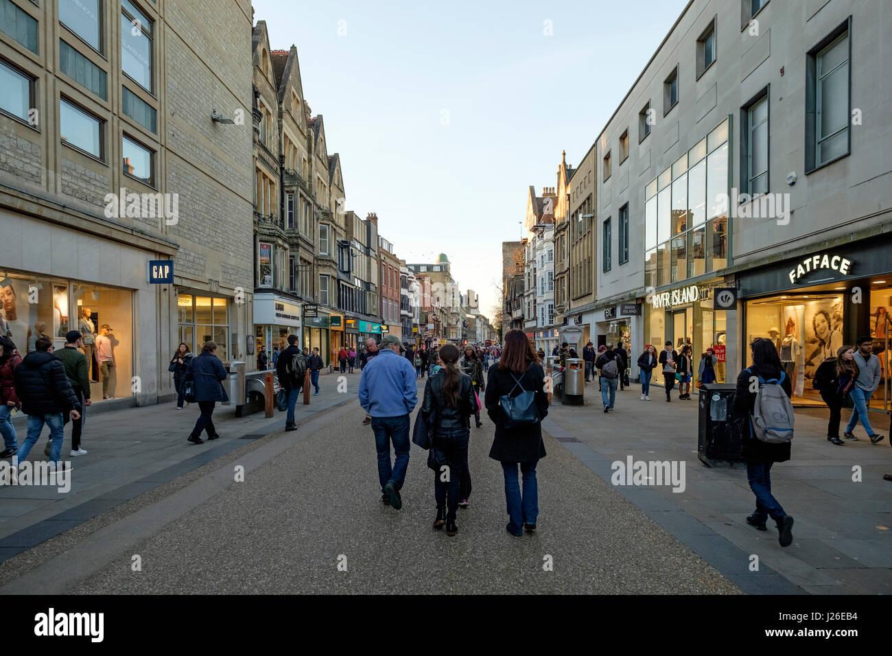 Cornmarket street in Oxford, Oxfordshire, England, United Kingdom - Stock Image