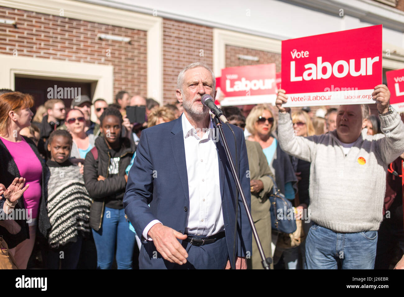 Labour Party leader JEREMY CORBYN visiting Crewe today (SATURDAY 22/4/17) as part of the Labour Party's general - Stock Image