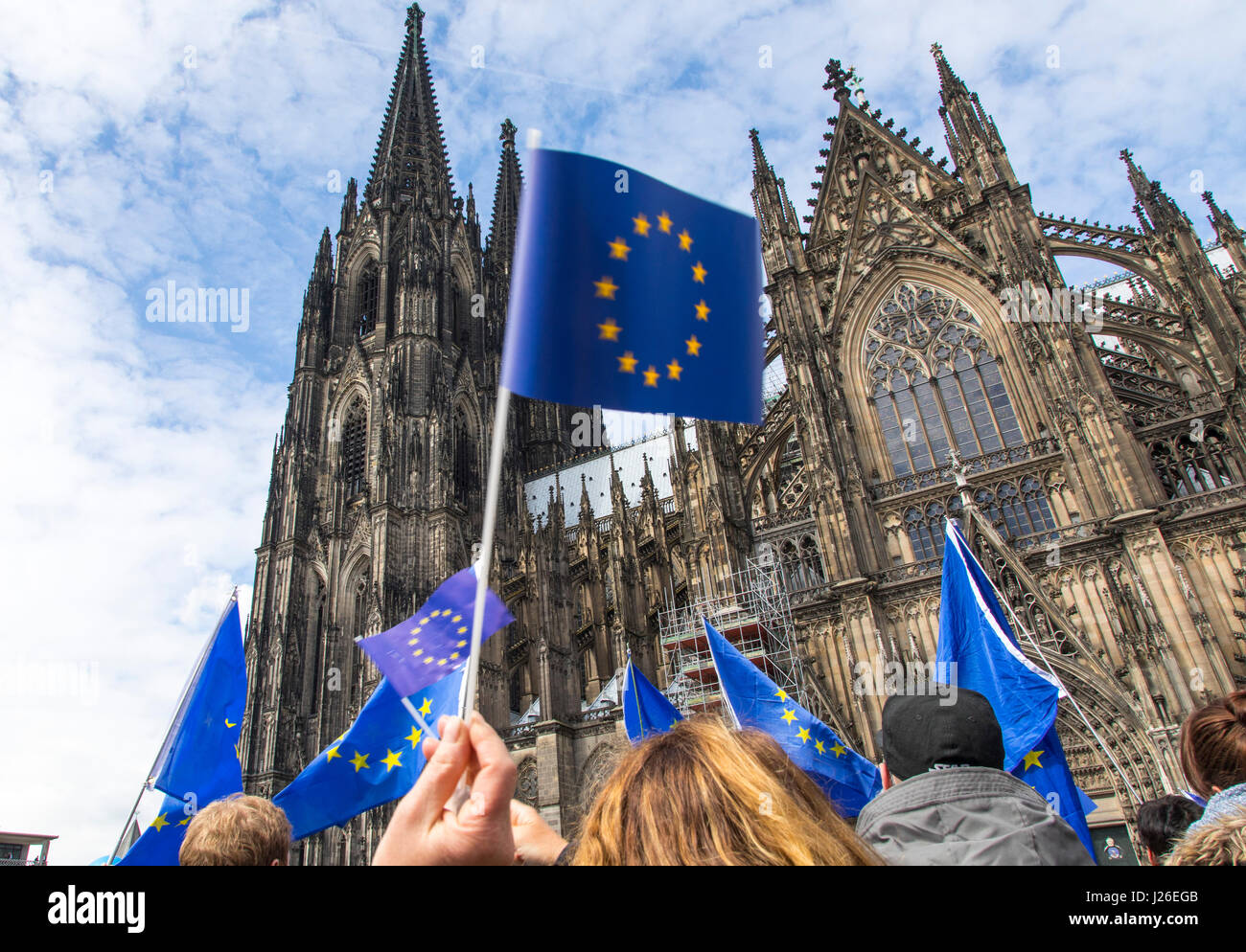 Puls of Europe movement, a pro-European citizen's initiative, people meet every Sunday afternoon in several - Stock Image