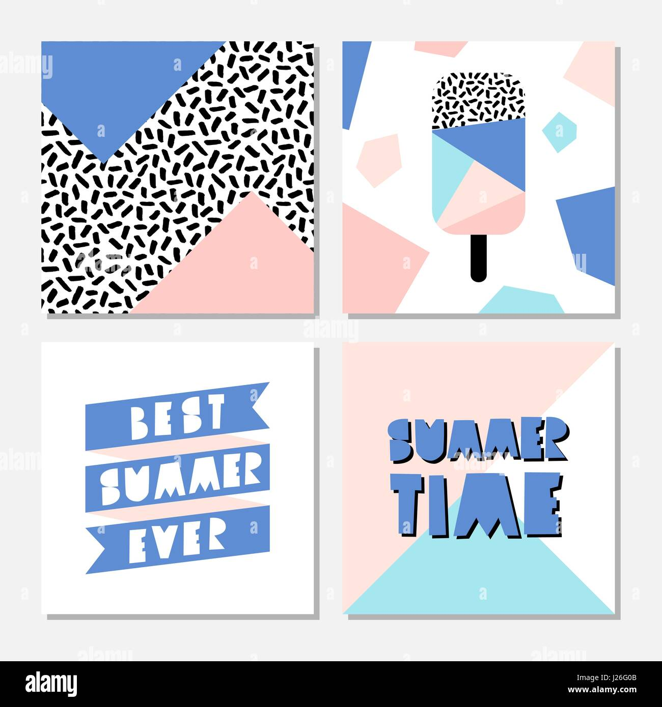Retro design summer cards with pastel colored geometric shapes