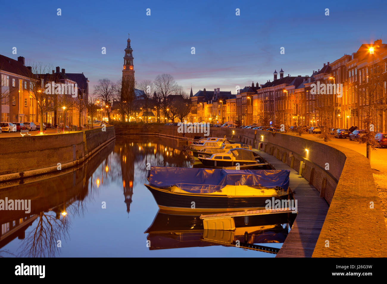 The city of Middelburg with the Lange Jan church tower in The Netherlands at night. Stock Photo