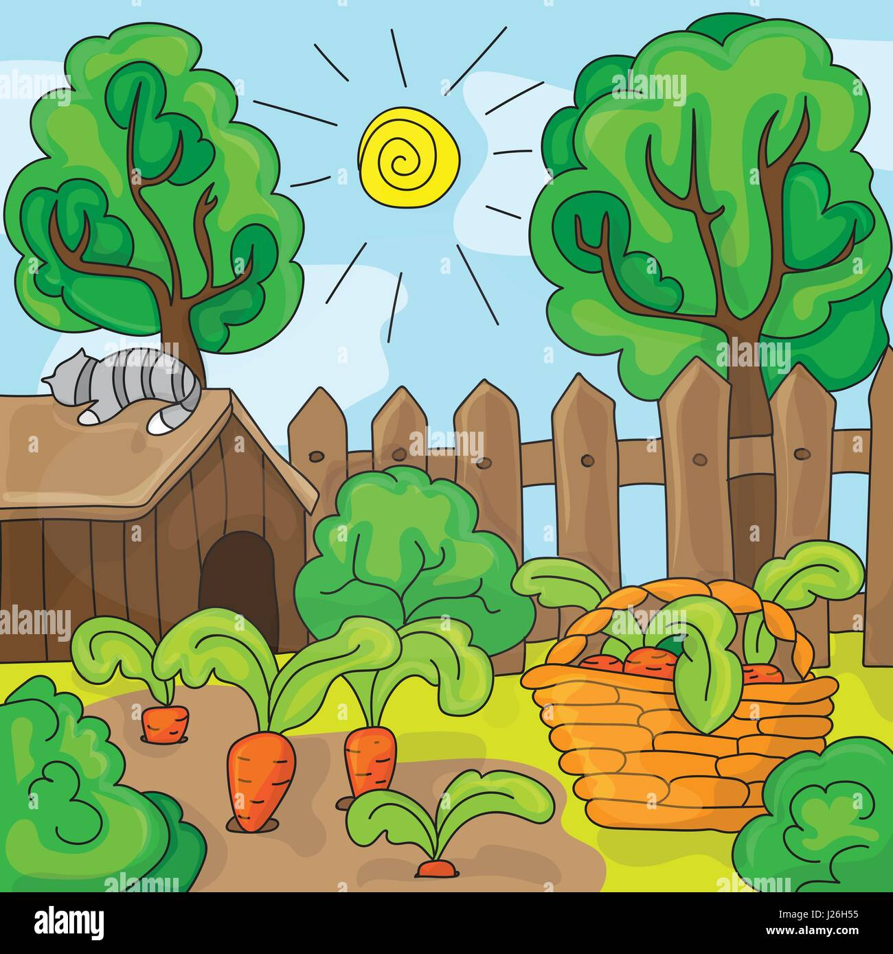 Cartoon Garden With Carrots, Vector Illustration