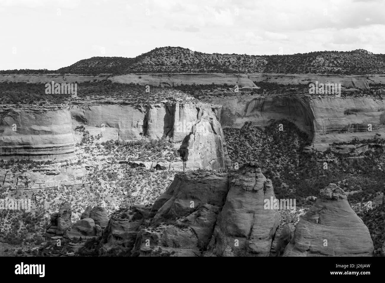 The rock formation called the Coke Ovens in the Colorado National Monument. The picture is in monochrome. Stock Photo