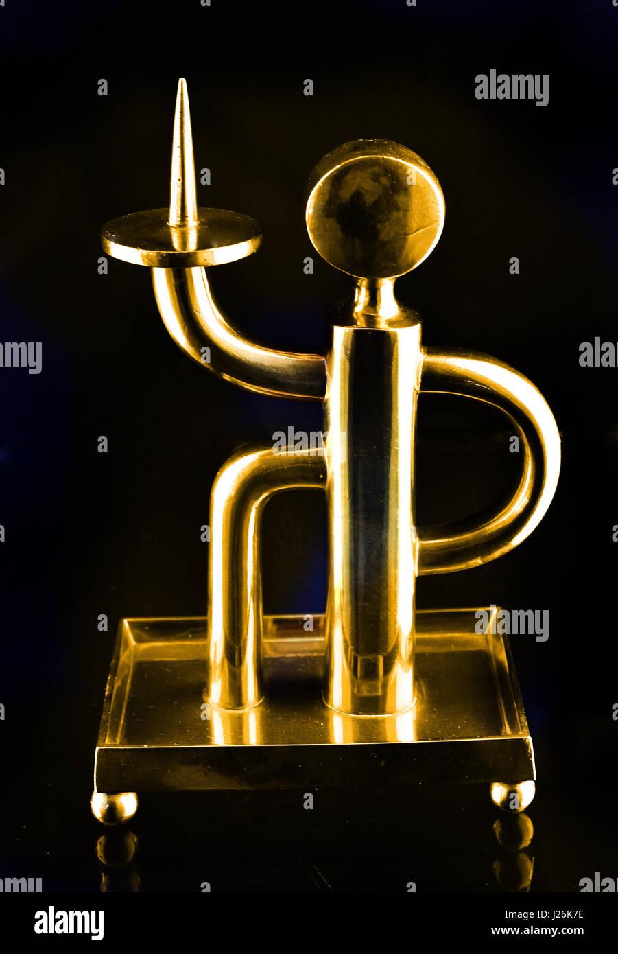 Candlestick figure design Karl Müller Brass 1930 German Germany (  Professor Karl Müller (1888-1972) at the - Stock Image