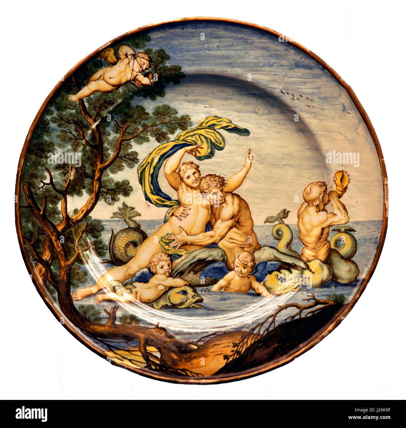 glaucus and scylla (  greek mythology ) Plate with Mythological Figures 1740 by Ferdinando Maria Campani Italy Italian. - Stock Image
