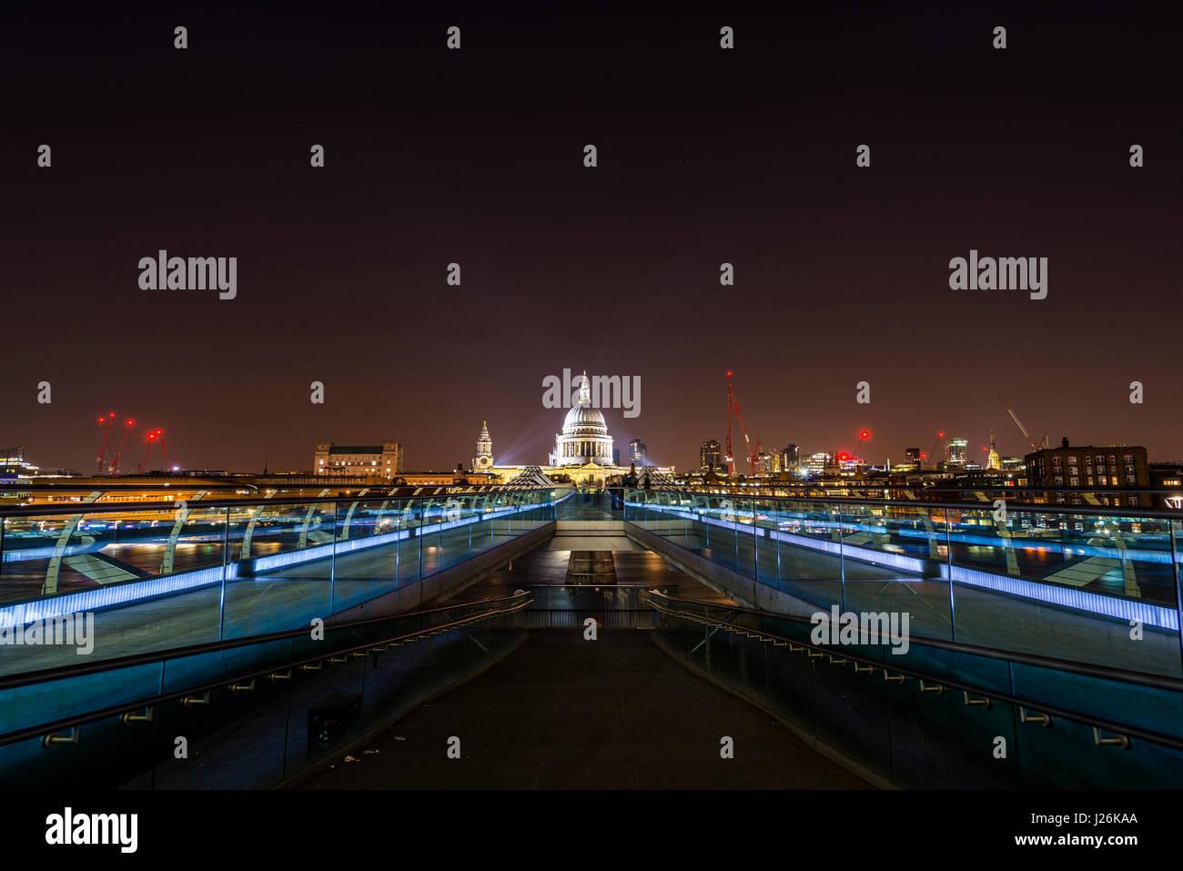 Illuminated Millennium Bridge and St. Paul's Cathedral, night shot, London, London, England, United Kingdom Stock Photo