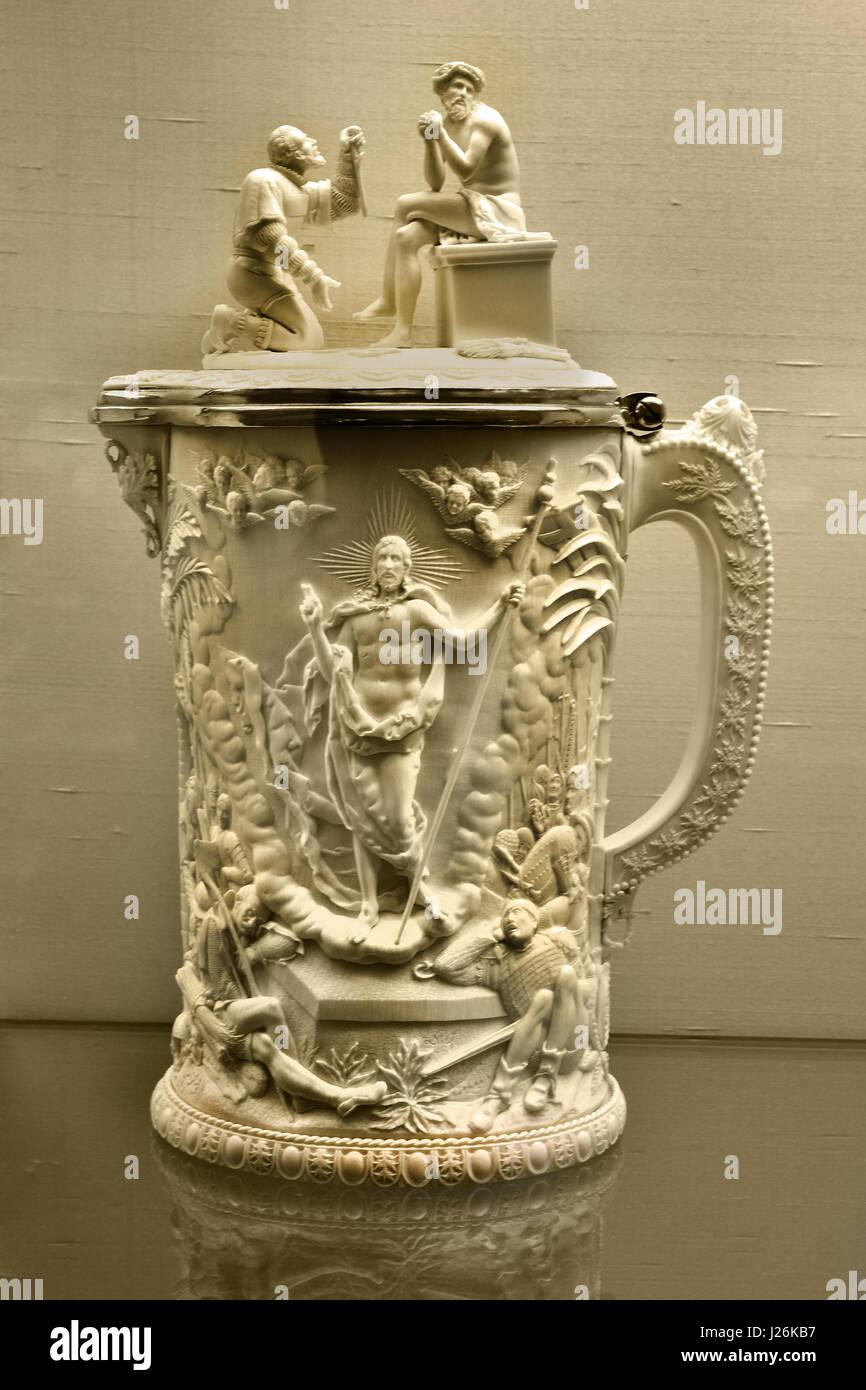 Last Supper. Jug  - Chalice Ivory, Brass, Gilded, 1836 by Lebrecht Wilhelm Schulz, Meiningen Germany - Stock Image