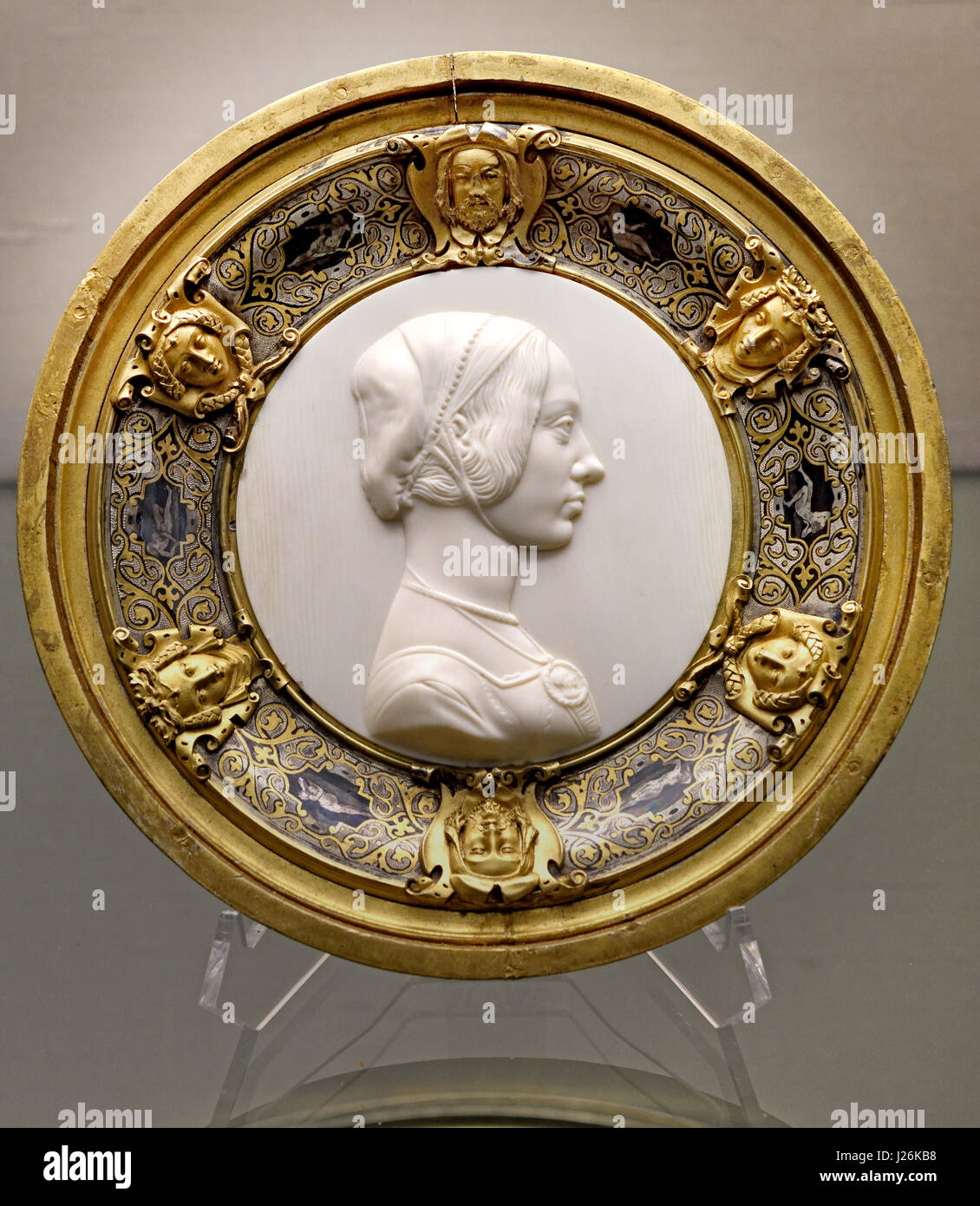 Medallion and frame 1828 by Carl Wagner, Berlin (ivory, silver, nielliert ) German Germany - Stock Image