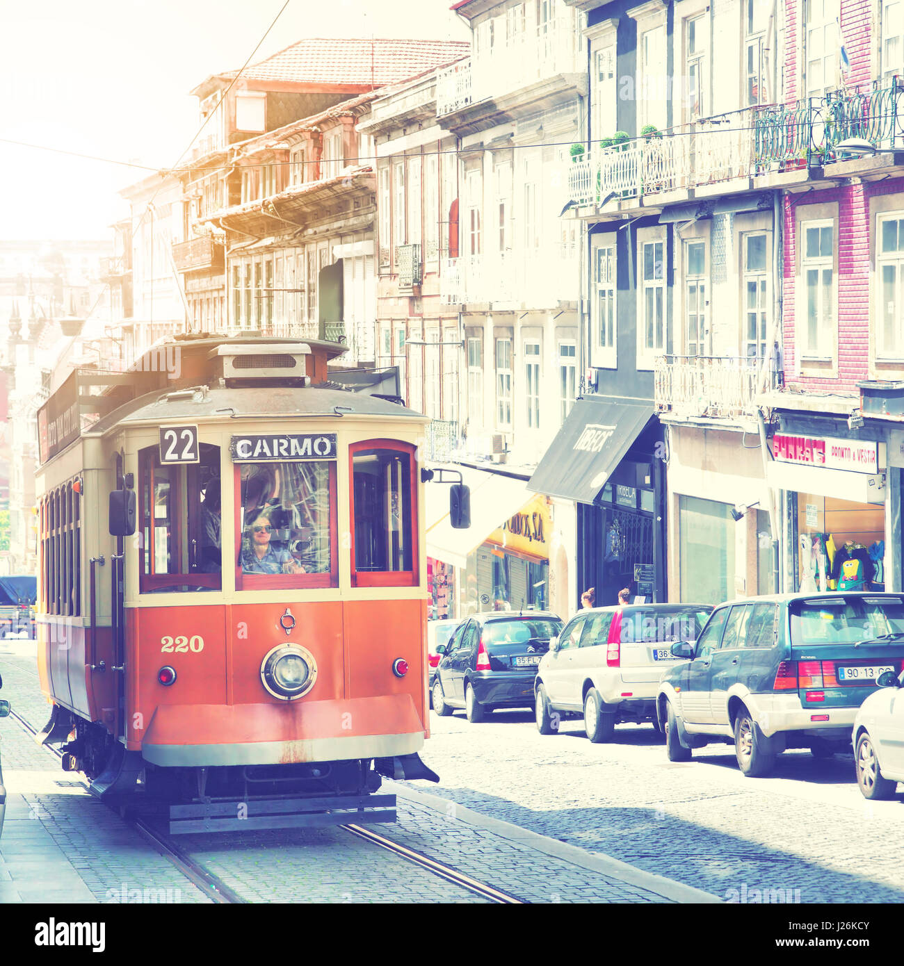 Porto, Portugal - May 12, 2012:  Old tram in downtown of Porto Stock Photo