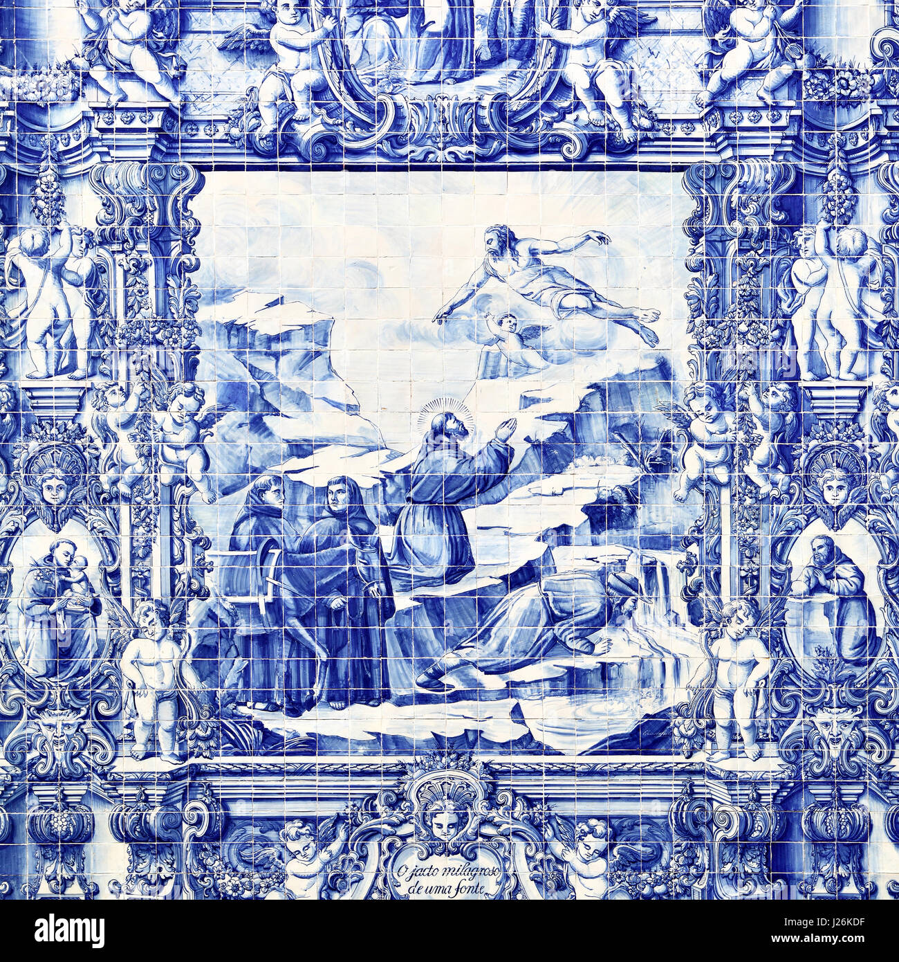Porto, Portugal - May 13, 2012: Traditional portuguese tilework azulejo on outer wall of the Capela Das Almas De - Stock Image