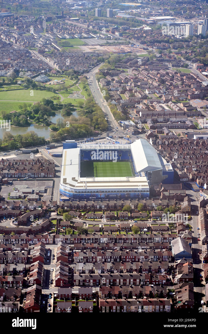 An aerial view of Goodison Park, Liverpool, home of Everton FC, Merseyside, UK Stock Photo