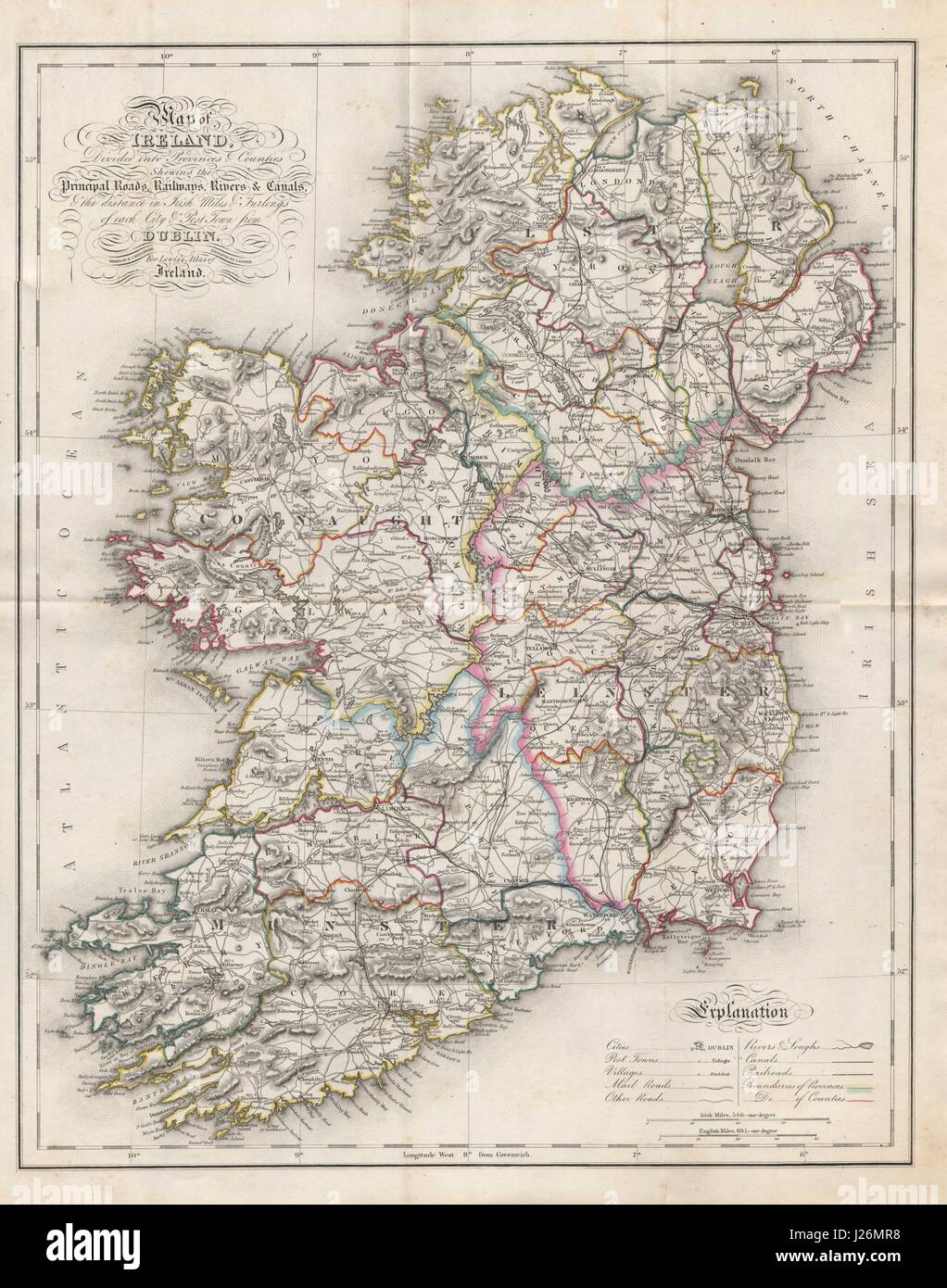 Map Of Ireland 26 Counties.Map Of Ireland Divided Into Provinces Counties Stock Photo