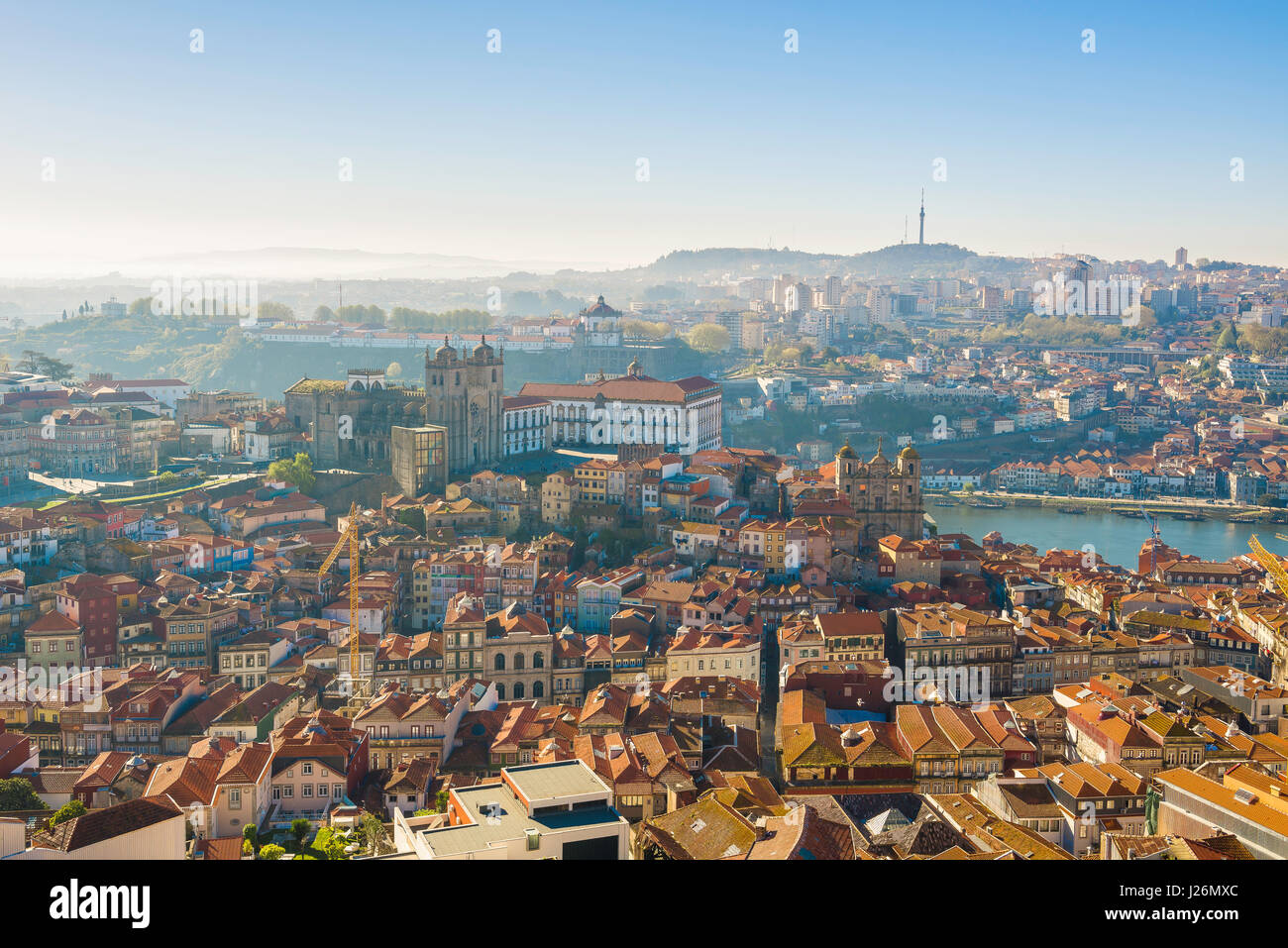 Porto Portugal cityscape, view in summer of the cathedral (Se) and old town area in the center of Porto, Portugal, Stock Photo