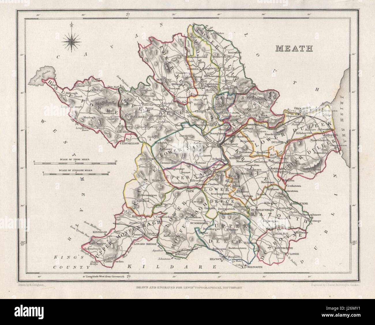 Map Of Ireland 26 Counties.County Meath Antique Map For Lewis By Creighton Dower Ireland