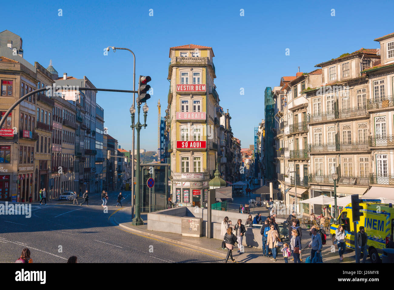 Porto Portugal center, junction of two great thoroughfares in the center of Porto - the Rua das Flores(r) and Rua Stock Photo