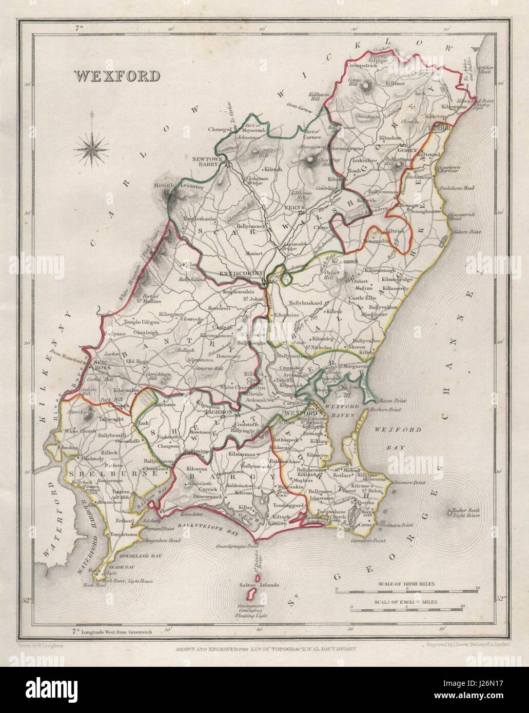 Map Of Wexford County Ireland.County Wexford Antique Map For Lewis By Creighton Dower Ireland