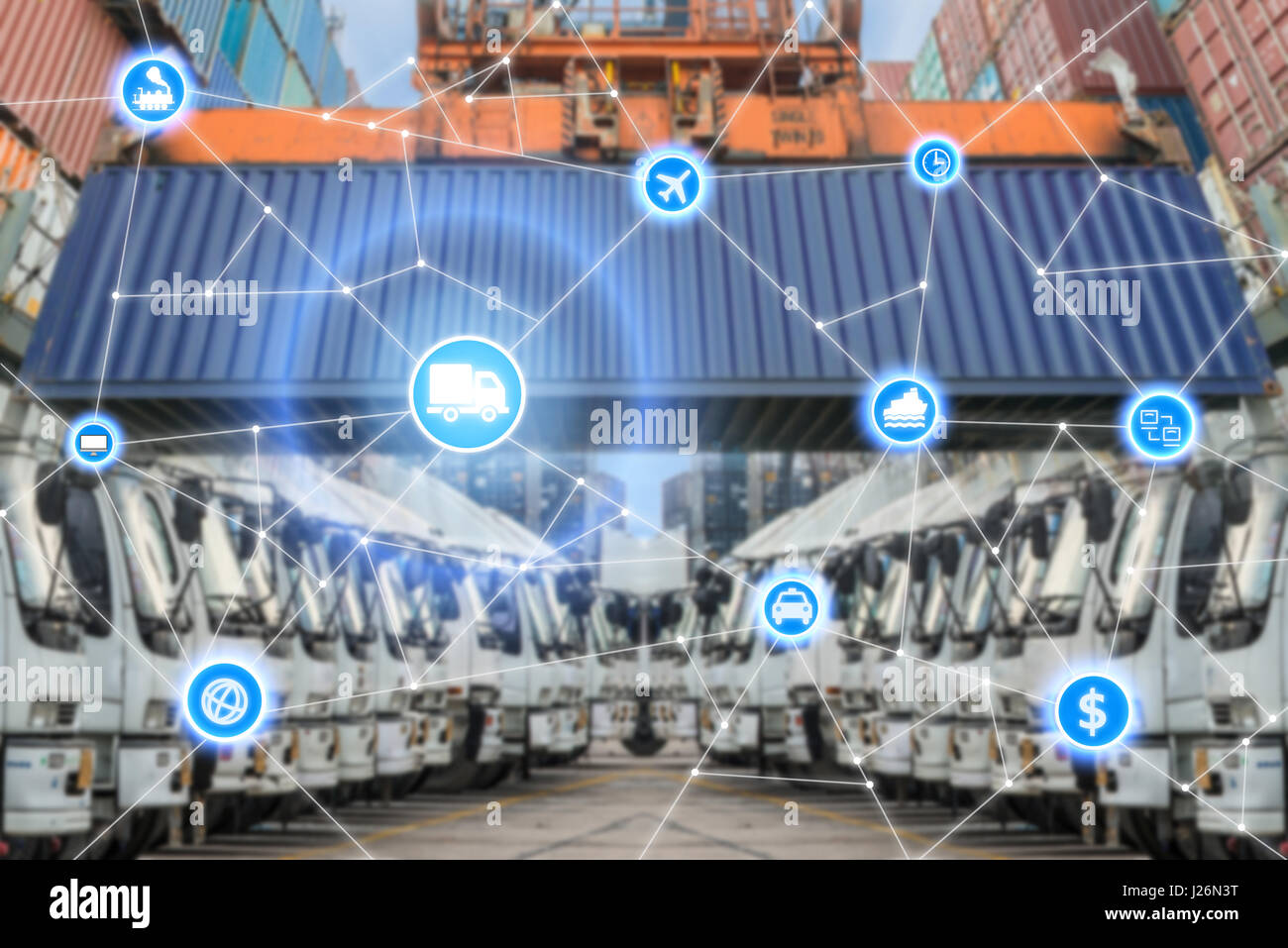 Global business logistics system connection technology interface global partner connection - Stock Image