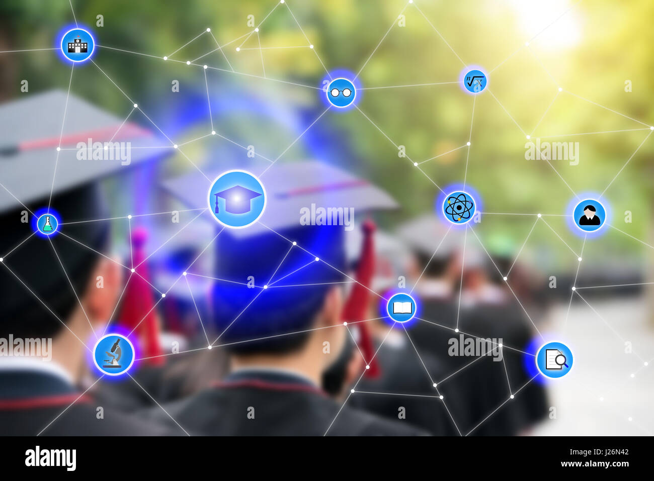 Smart education and education icon network conection with graduation in background, abstract image visual, internet - Stock Image