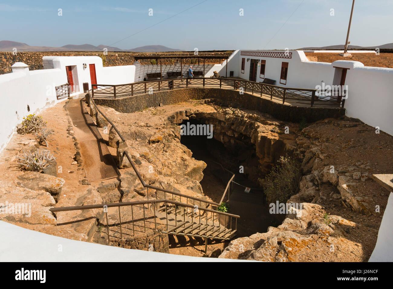 FUERTEVENTURA - SEPTEMBER 23: The entrance to the Cueva del Llano in Fuerteventura, Spain on September 23, 2015 - Stock Image