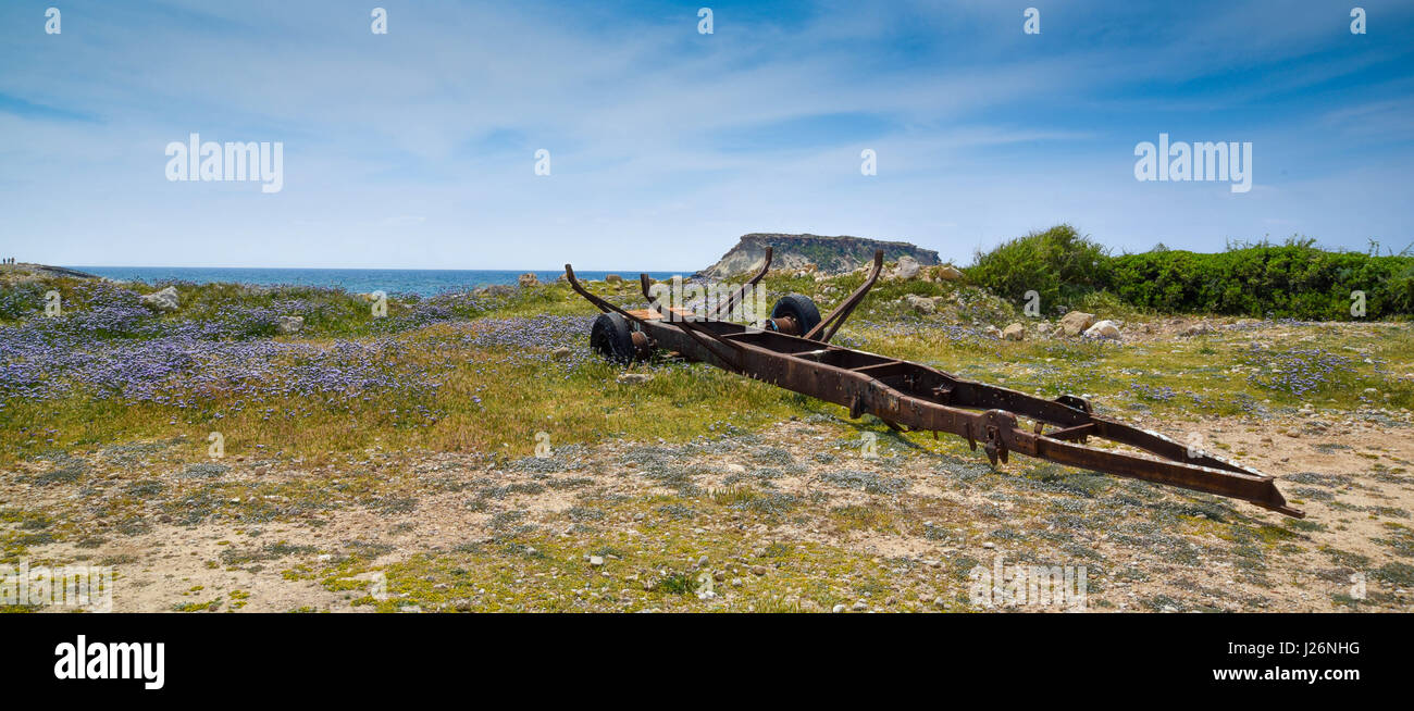boat trailer on the beach - Stock Image