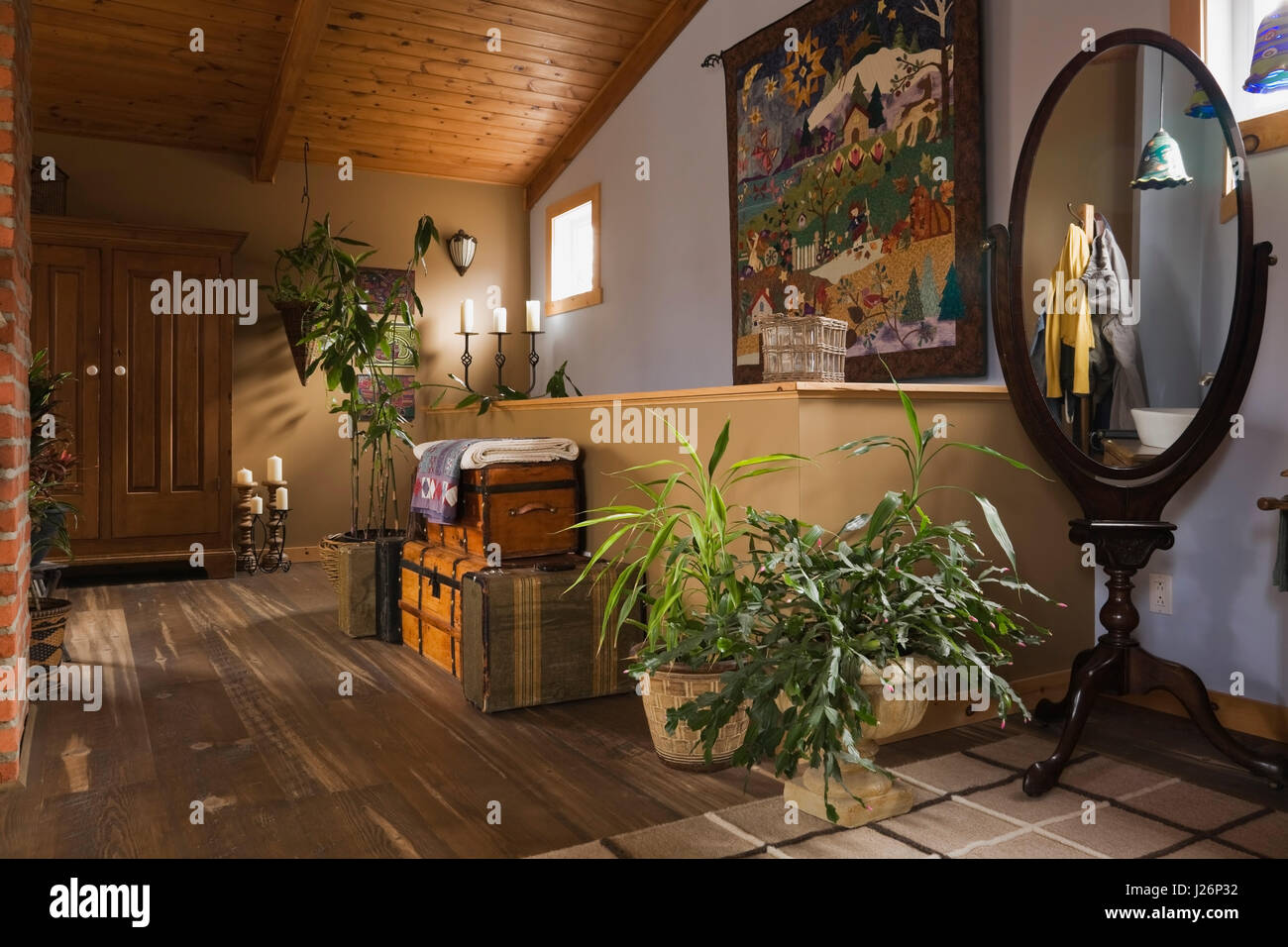 Old Antique Trunk Cases And Mirror In The Master Bedroom Hallway On The Upstairs Floor Inside A Country Cottage Style Residential Home Stock Photo Alamy