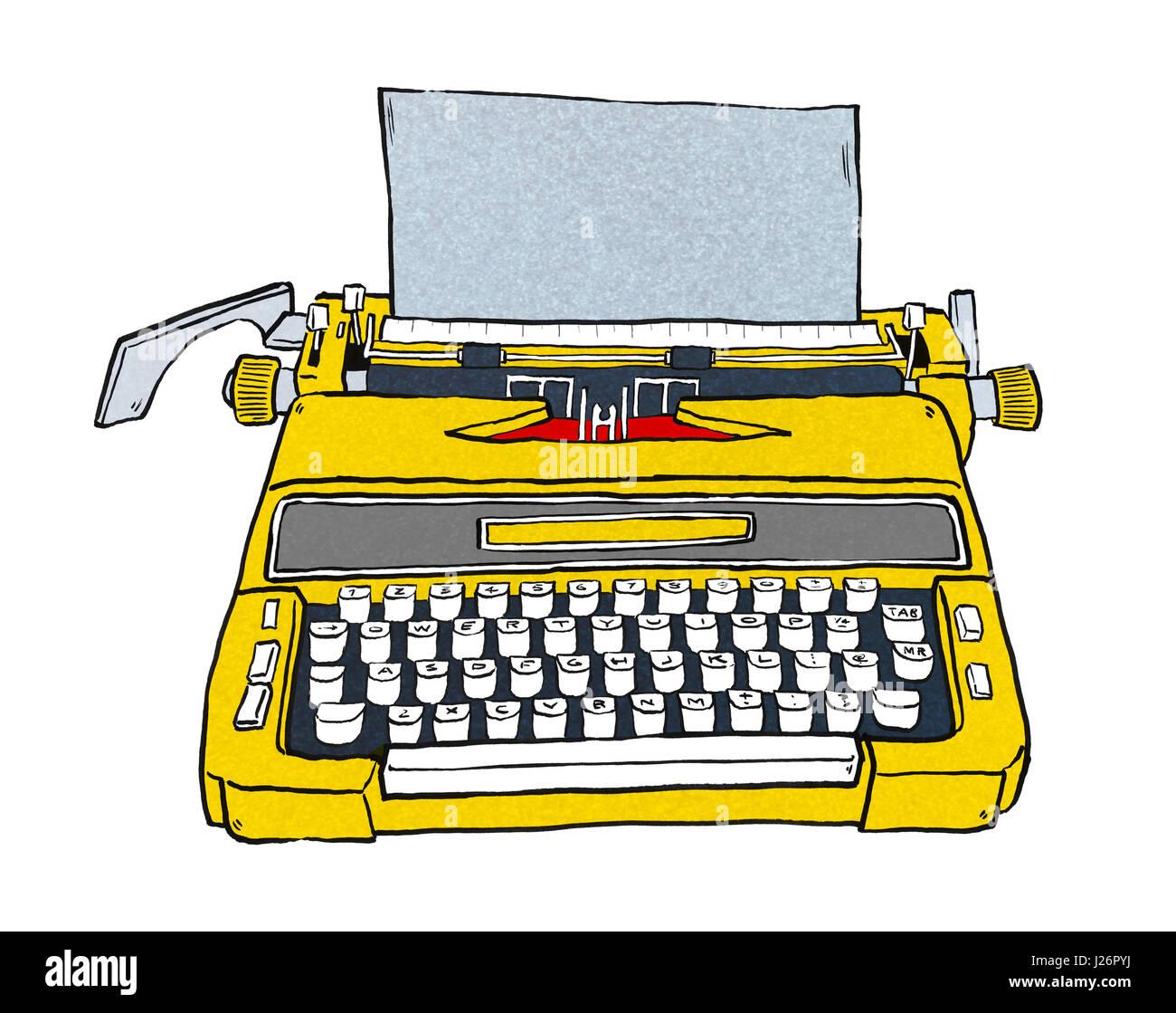 old typewriter hand drawn - Stock Image