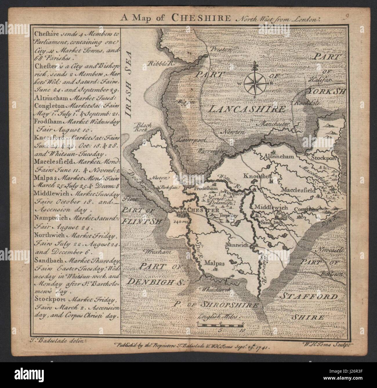 Antique county map of Cheshire by Badeslade & Toms 1742 old chart Stock Photo