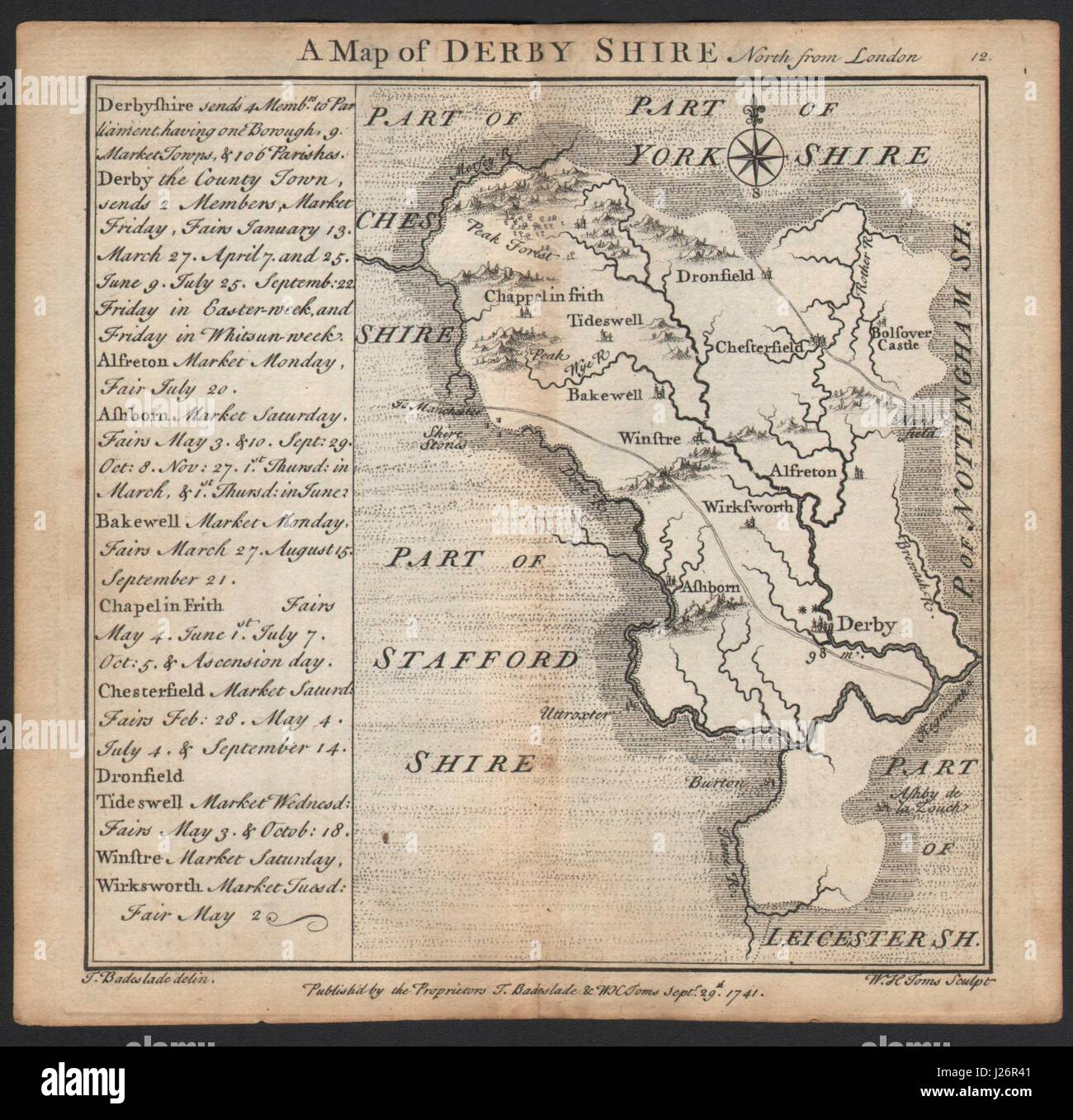 Antique county map of Derbyshire by Badeslade & Toms 1742 old - Stock Image
