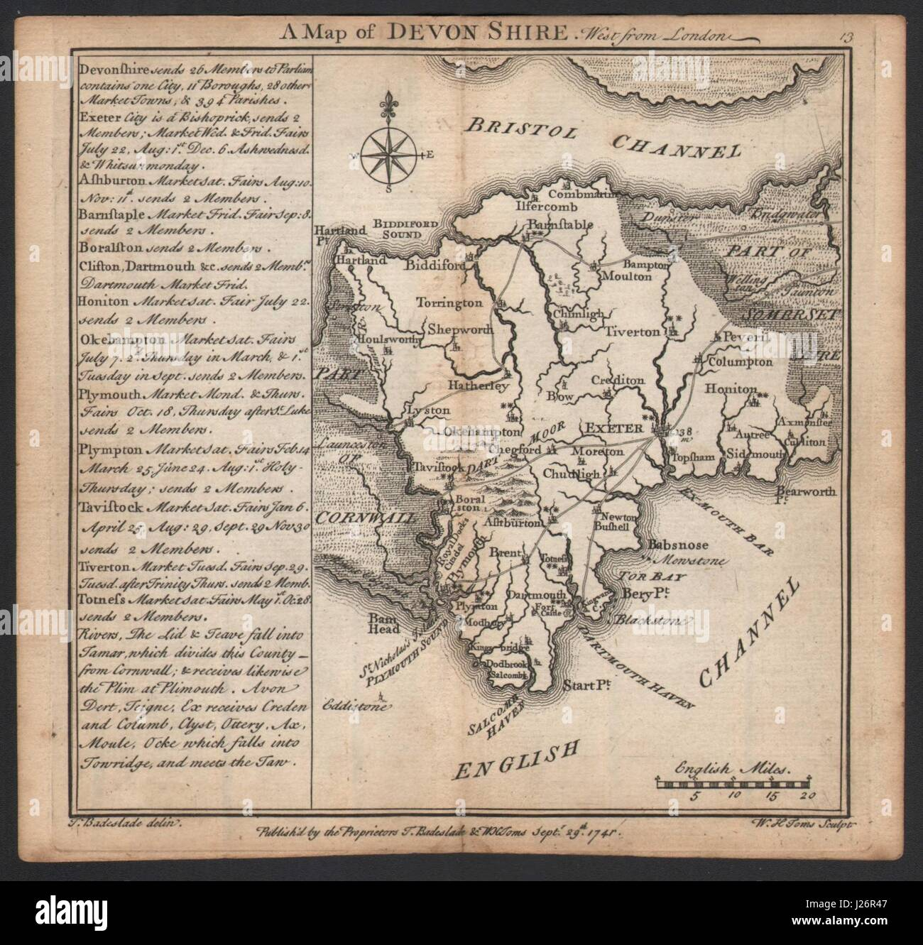 Antique county map of Devonshire by Badeslade & Toms 1742 old - Stock Image