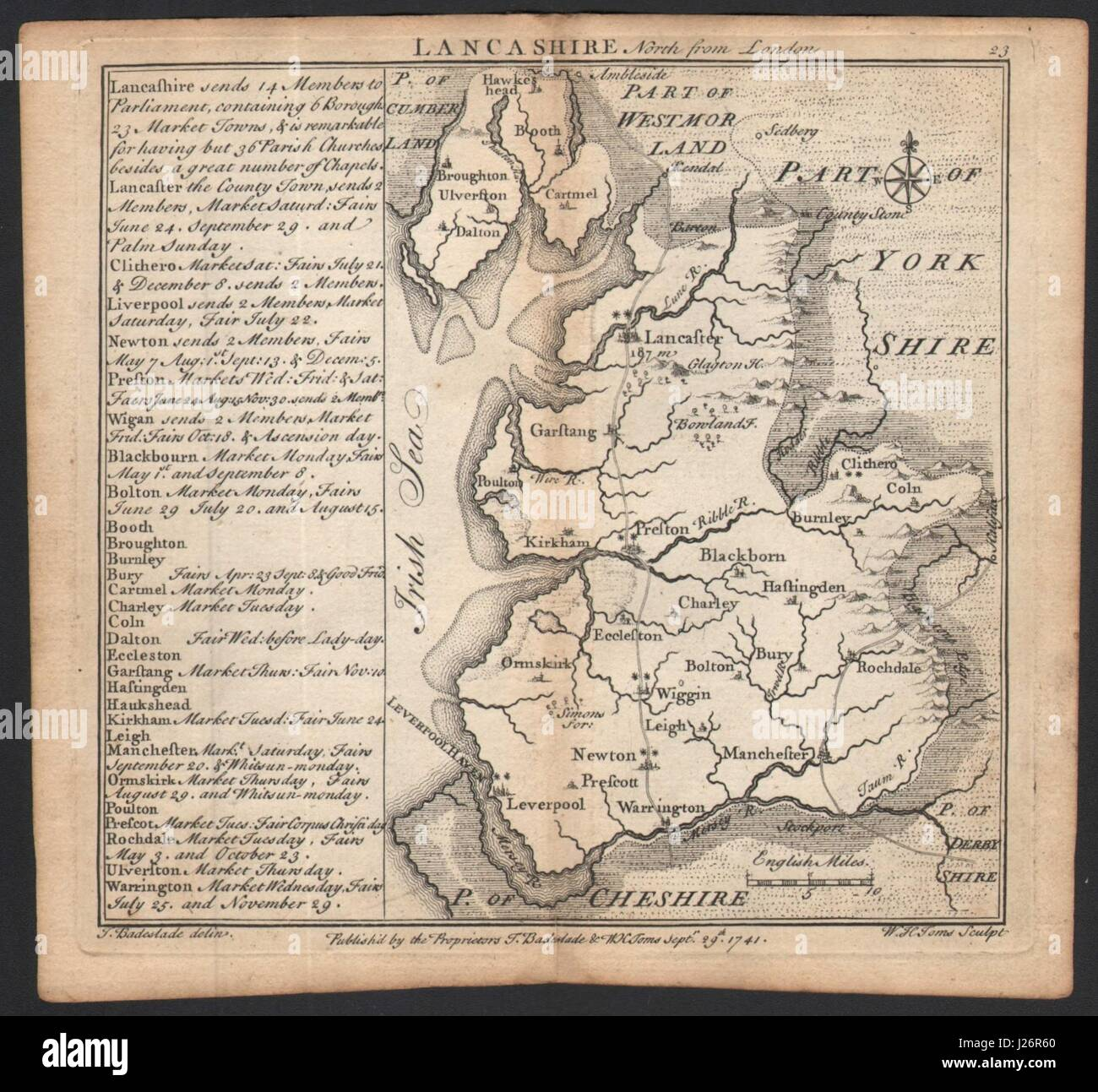 Antique county map of Lancashire by Badeslade & Toms 1742 old - Stock Image