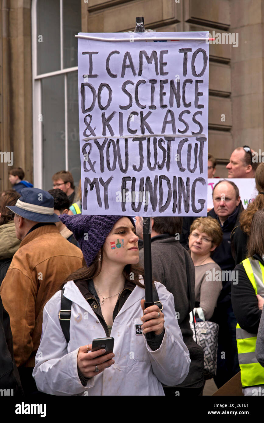 Participants in the March for Science Rally held in Edinburgh on the 22nd April, 2017 as part of the global protest - Stock Image