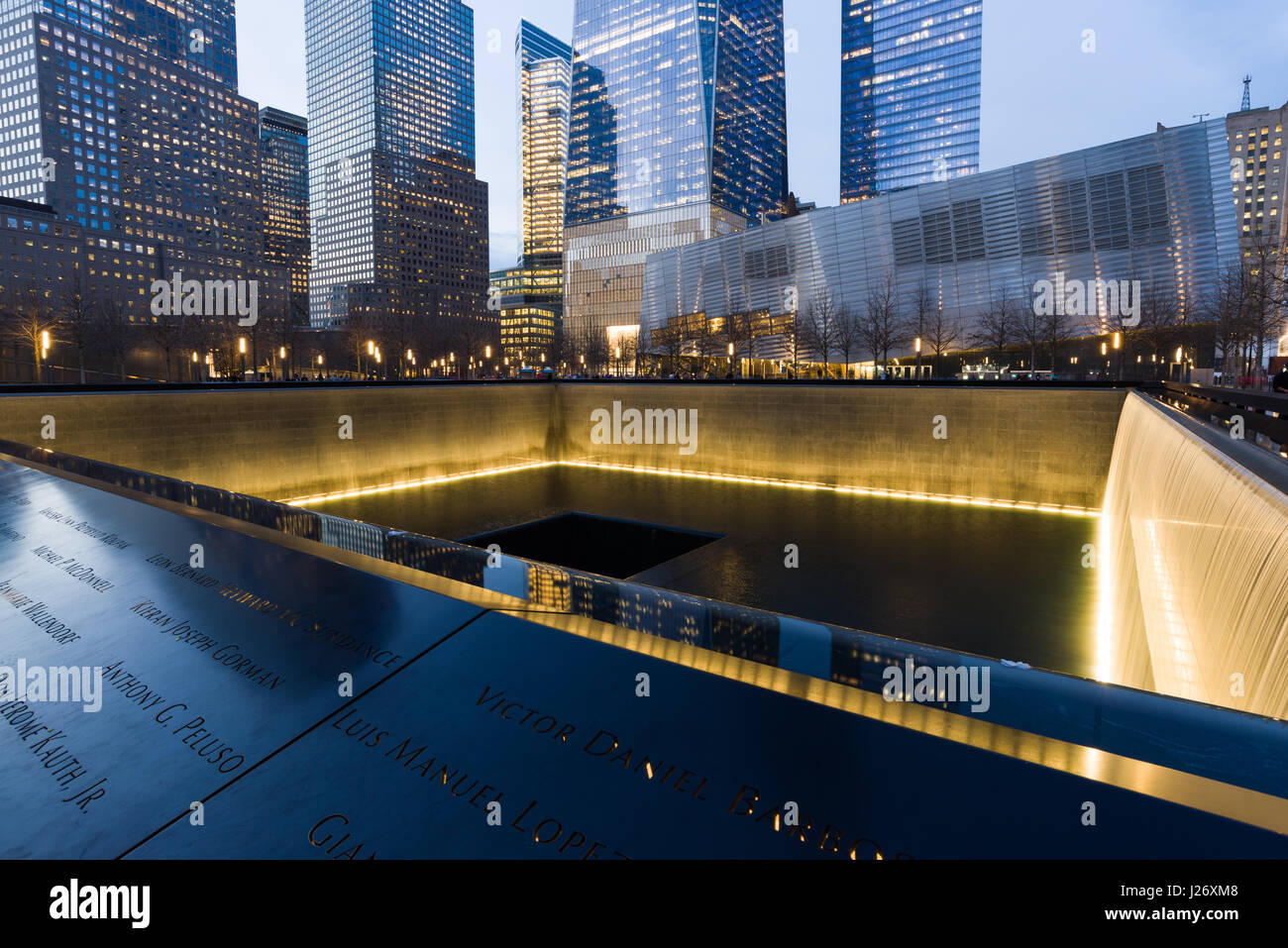World Trade Centre And 9/11 Memorial Park Water Pool In Late Afternoon Light, New York, USA - Stock Image