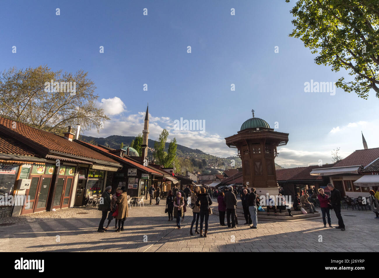 SARAJEVO, BOSNIA HERZEGOVINA - APRIL 17, 2017: Sebilj fountain, on Bacarsija district,  in the afternoon. This fountain - Stock Image